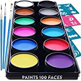 Face Paint Kit for Kids – 30 Stencils, 12 Large Washable Paints, 3 Brushes, Safe Kids Facepainting for Sensitive Skin, Professional Facepaints - Halloween Makeup Kit Body Paint Supplies