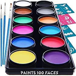 Face Paint Kit for Kids – 30 Stencils, 12 Large Washable Paints, 3 Brushes, Safe Facepainting for Sensitive Skin, Professional Quality Body & Face Facepaints - World Cup Costume Makeup Paint Supplies