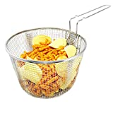 frying basket stainless - Best Utensils Stainless Steel Deep Fry Basket Round Wire Mesh Fruit Strainer With Resting Feet and Long Handle Frying Cooking Tool Food Presentation Tableware, 5.7 Quart