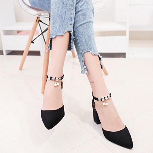 Lolittas Summer Wedge Sandals Court Shoes for Women, Block High Heel Platform Diamante Glitter Pearl Sequin Point Toe Lace up Slingback Size 2-6 Black