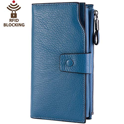 (Itslife Women's RFID Blocking Large Capacity Luxury Wax Genuine Leather Clutch Wallet Card Holder Organizer Ladies Purse (2-Natural Sky Blue))