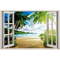 Virgin Island 3D Window View Decal WALL STICKER Art Mural Exotic Ocean Beach C658, Regular