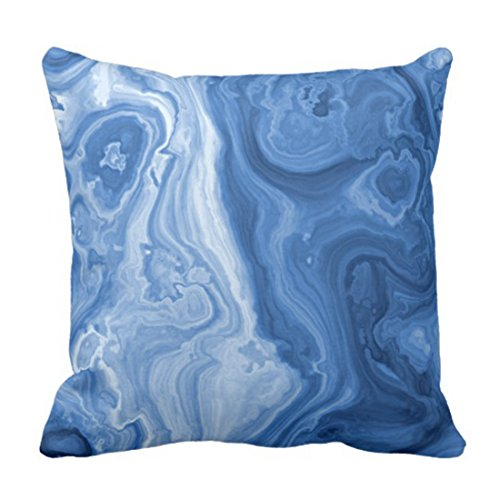 VANMI Throw Pillow Cover Cute Ornate Modern Azure Blue Malachite Marble Swirls Elegant Decorative Pillow Case Home Decor Square 18 x 18 Inch Pillowcase ()