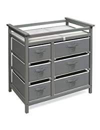 Badger Basket Modern Baby Changing Table with Six Baskets, Gray/White BOBEBE Online Baby Store From New York to Miami and Los Angeles