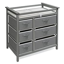 Badger Basket Modern Baby Changing Table with Six Baskets