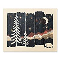 Beautiful Outdoor Starry Night Sky Art Print Wilderness Nature Forest Trees Mountain Lover Wall Art Colorful Moon Bear Peaceful Camping Meditation Wanderlust Illustration Home Decor 8 x 10 Inches