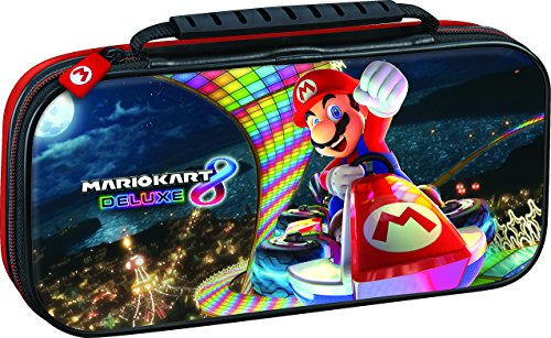 NINTENDO SWITCH DELUXE MARIO KART TRAVEL CASE, PREMIUM HARD CASE MADE WITH PU LEATHER, ORIGINAL MARIO KART ART. SECURE FIT FOR SWITCH, DESIGNED TO PROTECT SWITCHS ANALOG STICKS, 2 MULTI-GAME CASES