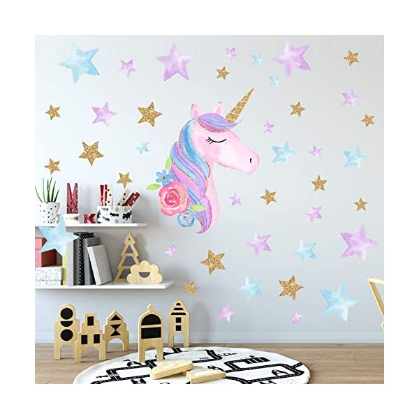 AIYANG Unicorn Wall Stickers Rainbow Colors Wall Decals Reflective Wall Stickers for Girls Bedroom Playroom Decoration (Stars,Left) 7