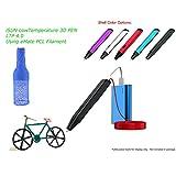 3D Printing Pen, Low Temperature 3D Pen Using eMate Moldable PCL Filament, Safest 3D Pen, Slim Design, Easy 1 Button Operation, LTP 4.0 2017 Gen, Black Shell