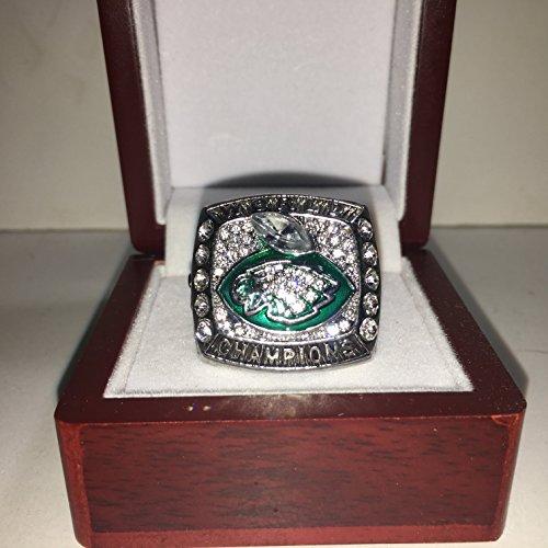 - Philadelphia Eagles Nick Foles #9 High Quality Replica 2017-2018 Super Bowl LII 52 Championship Ring Size 11-Silver Colored, Green Eagles Logo USA SHIPPING