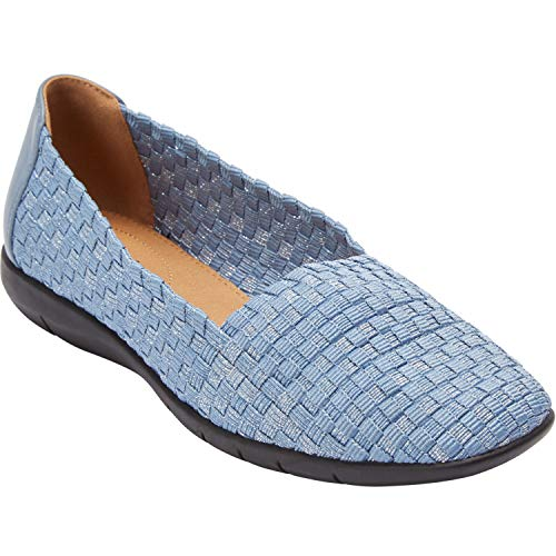 - Comfortview Women's Plus Size The Bethany Flat - Denim Metallic, 10 1/2W