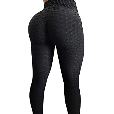 a8d61c592bee7 HURMES Women s High Waist Yoga Pants Ruched Butt Lifting Stretchy Hip Push  Up Tummy Control Workout