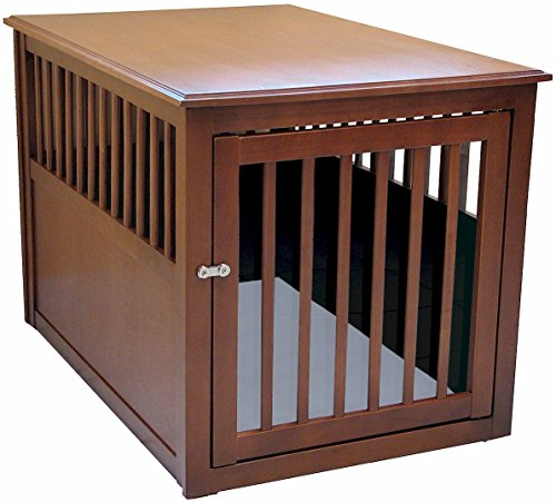 Crown Pet Products Pet Crate Wood Dog Crate Furniture End Table, Large Size  With Mahogany