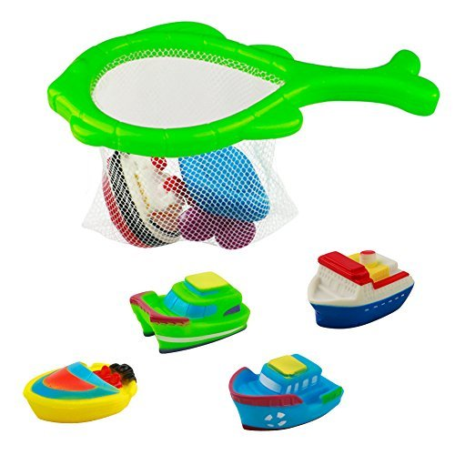 Fajiabao Bath Toy Floating Boat Beach Water Toy with Model Boat Net Bathtub Toys Game for Kids Girls Boys 6M+