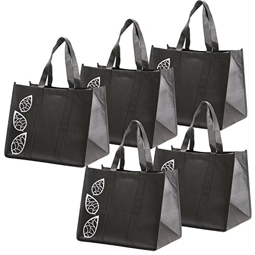 Bekith 5 Piece Large Collapsible Shopping Bags Set,Black Reusable Reinforced Grocery Tote Bag - Grocery Bag Totes