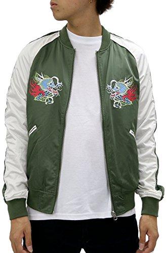 Beno Men's Souvenir Jacket Sukajan Dragon Japan Map Embroidered Jacket (Medium, Olive (Green Embroidered Jacket)