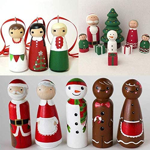 Solid Wood People Shapes Waldorf DIY Wood Craft-Paint Your Own Wooden Peg People 50pcs Natural Unfinished Blank Wooden Peg Doll Bodies