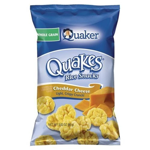 Puff Rice Cake - Quaker Popped Cheddar Cheese Gluten Free Rice Crisps 3.03 oz (Pack of 12)