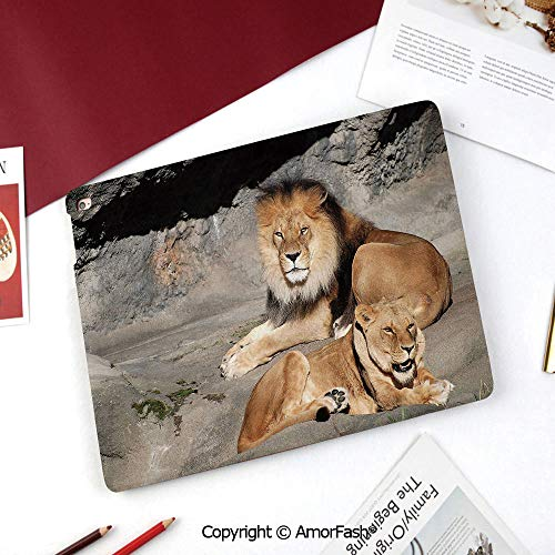 Zoo Nice Cute Flip Stand Case PU Leather Folio Cover for Samsung Galaxy Tab A 8 Inch 2015 Version,Male and Female Lions Basking in The Sun Wild Cats Habitat King of Jungle ()