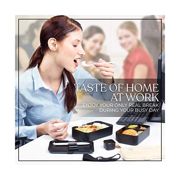 Umami® ⭐ Premium Bento Lunch Box con Vaschetta Condimento & 3 Posate - Porta Pranzo Ermetico a 2 Scomparti - Pasti A… 4 spesavip