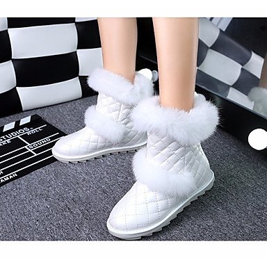 Botas de mujer invierno primavera PU Confort Casual plana en blanco y negro White