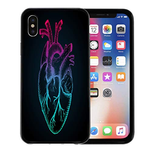 Emvency Phone Case for Apple iPhone Xs case,Sketch Anatomical Heart Vintage Detailed Human Organ Abstract Gradient Colored Anatomy for iPhone X Case,Rubber Border Protective ()