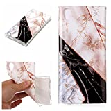 Mistars Silicone Case for Sony Xperia XA2, Luxury Bling Shining Glitter Marble Pattern Design Case Ultra Thin Anti-Scratch Shockproof Protective TPU Soft Gel Case Rubber Skin Cover Bumper for Sony Xperia XA2 (5.2 inch) (White and Black)