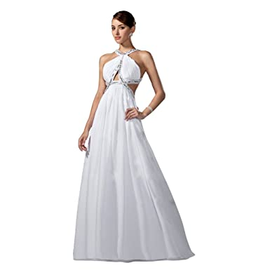 f1e54ee91c0a StarGirl Custom Made Womens A-Line Princess Scoop Neck Sweep Train Chiffon  Prom Dress With