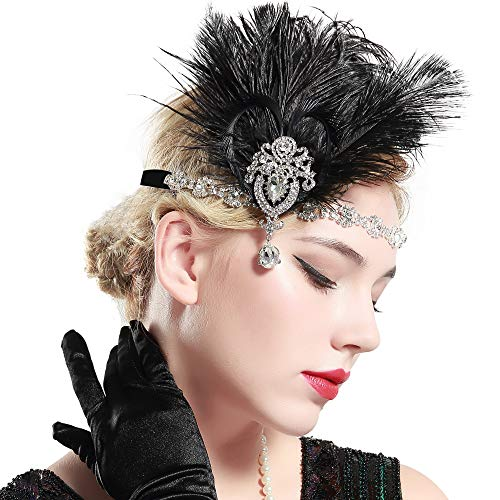 BABEYOND Women's Ostrish Feather Crystal Headband Feather Headband Flapper Headpiece 1920s]()