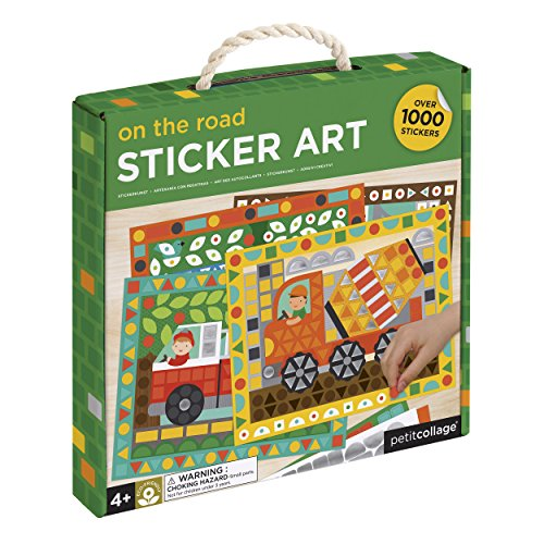 Petit Collage Mosaic Sticker Art Kit with Over 1000 Stickers, Vehicles