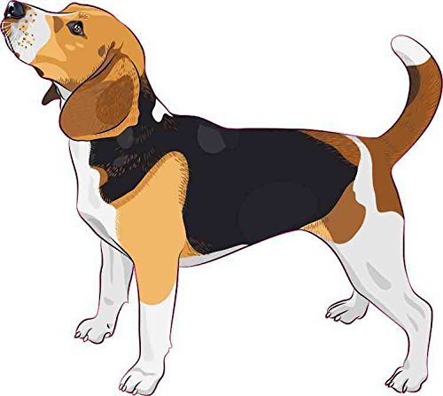 Beagle Dog Sticker - 5in x 4.5in Beagle Bumper Sticker Car Vinyl Truck Window Dog Sign Decal