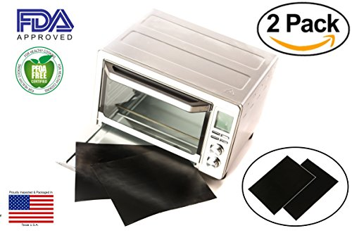 "Compact Trim Safe (TWO-PACK 100% Non-Stick 11"" Toaster Oven Liner. Finally, Prevent Spillovers, Gunk & Odors! Great Teflon Liner for Large and Small Toaster Ovens, Dishwasher Safe, Best Toaster Oven Accessories)"