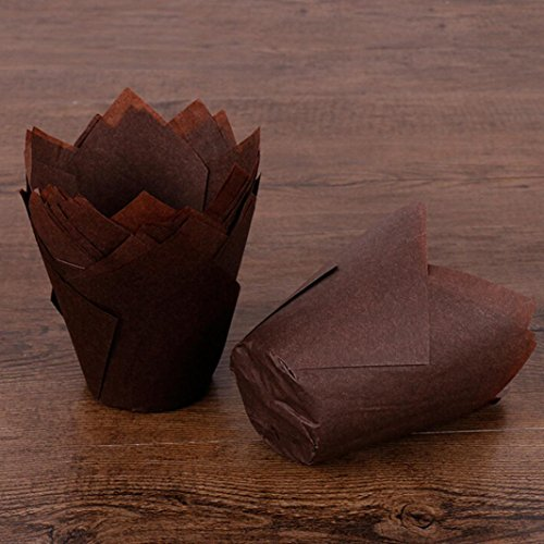 (Voberry 50pcs Cupcake Wrappers Cases Tulip Chocolate Cupcake Baking Cake Decoration (Coffee))