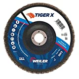 Weiler 51230 Tiger X Flap Disc, Ceramic and Zirconia Alumina, Flat, Phenolic Backing, 60 Grit, 7'', 7/8'' Arbor Hole (Pack of 10)
