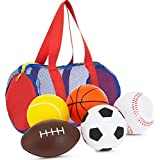 "Neliblu Foam Sports Balls for Toddlers and Kids - 3.5"" Perfect for Small Hands - Includes 1 Soccer Ball, 1 Basketball, 1 Baseball, 1 Football, and 1 Tennis Ball - Set of 5 Soft Balls in Carry Bag"