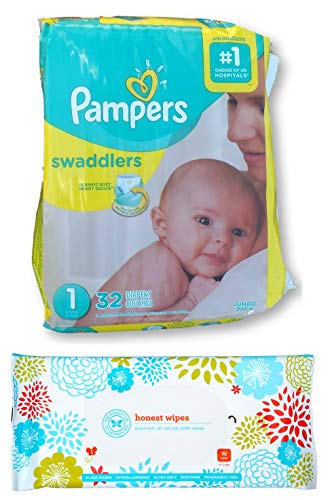 Pampers Swaddlers Disposable Diapers Size 1 (8-14lbs) (32ct) Bundle with Honest Baby Wipes (10ct) ()