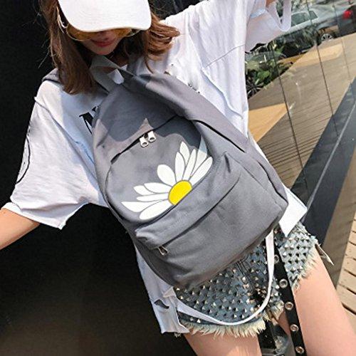 Printed Backpacks Fashion Travel Gray Bag Women Canvas Creazrise Floral Shoulder Girls x4atzqp