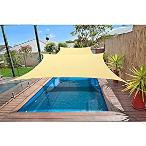 Alion Home 10′ x 13′ Waterproof Woven Sun Shade Sail in Vibrant Colors (Desert Sand)