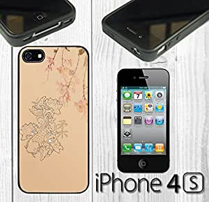 Koi Fish Flower Custom made Case/Cover/skin FOR iPhone 4/4s - Black - Rubber Case