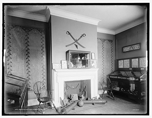 (Vintography 8 x 10 Ready to Frame Pro Photo of Guard Room Showing Original Wallpaper Washington's Headquarters Morris Jumel Mansion 1908 Detriot Publishing 09a)