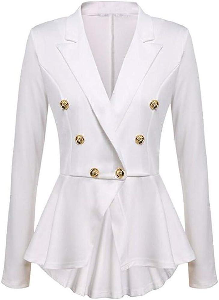 iLXHD Womens Long Sleeve Blazer Ruffles Peplum Button Jacket Coat Outwear