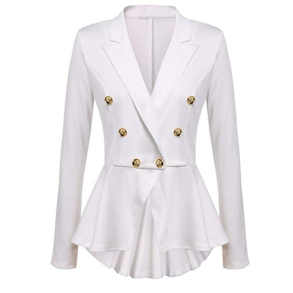 UONQD Women Long Sleeve Blazer Ruffles Peplum Button Casual Jacket Coat Outwear(Small,White)