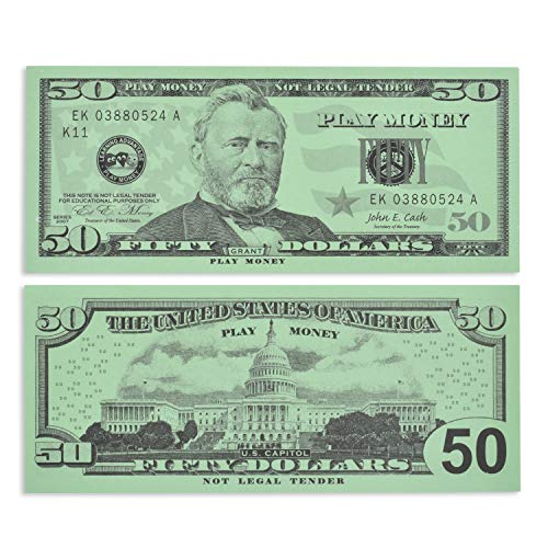 Learning Advantage Fifty Dollar Play Bills - Set of 50 $50 Paper Bills - Designed and Sized Like Real US Currency - Teach Currency, Counting and Math with Play Money