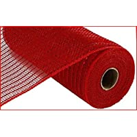 Matte Wide Foil Deco Poly Mesh Ribbon, 10 Inches x 30 Feet (Matte Red)