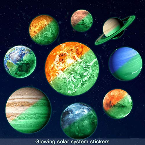 Gayrrnel Glow in The Dark Stars and Planets Wall Stickers, 9 Bright Solar System Decor Glowing Ceiling Decals - Sun Earth Mars and so on - for Bedroom Living Room,Shining Space Decoration for Kids
