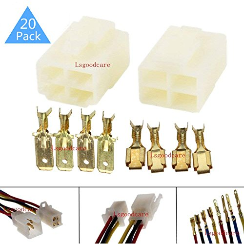 Lsgoodcare 6.3MM 4 Pin Way Electrical Automotive Wire Connector Kits Male Female Socket Plug Terminal for Motorcycle Car-Pack of 20