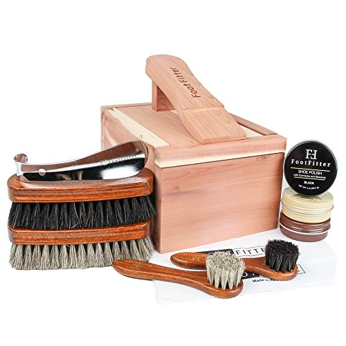 FootFitter Classic Shoe Shine Valet Box Set - Quality Shoe Cleaning Kit!