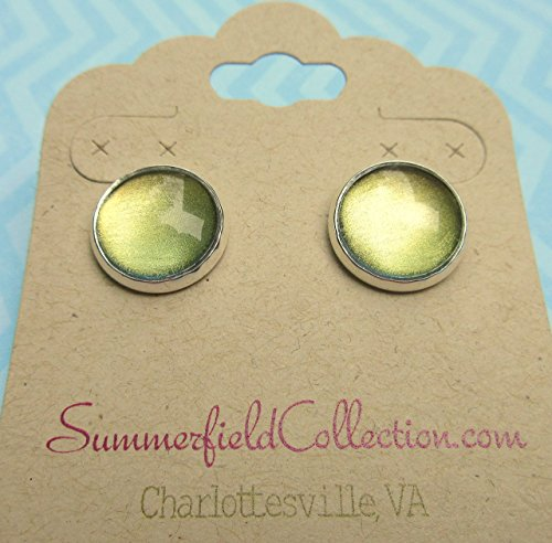 Silver-tone Metallic Green and Gold Color Shifting Glass Stud Earrings Hand-painted 12mm