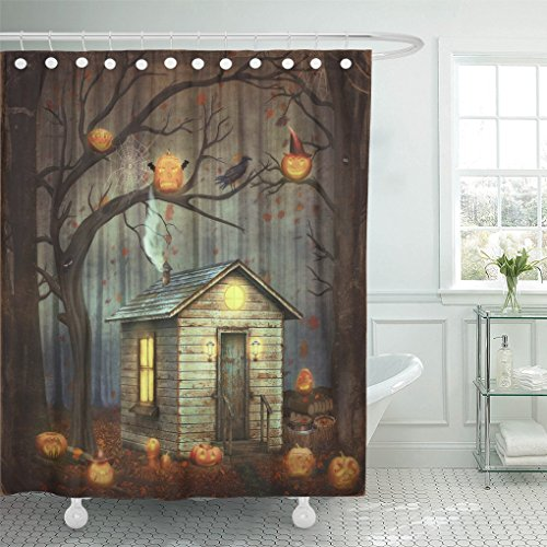 Emvency Shower Curtain Polyester Print 66x72 Inches Orange Old House in Fairytale Forest Among Trees and Scary Halloween Pumpkins Waterproof Adjustable Hook -