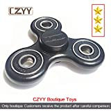 CZYY Black Spinner Fidget EDC ADHD Focus Toy Ultra Durable High Speed Si3N4 Hybrid Ceramic Bearing 1-3 Min Spins , Non-3D Printed